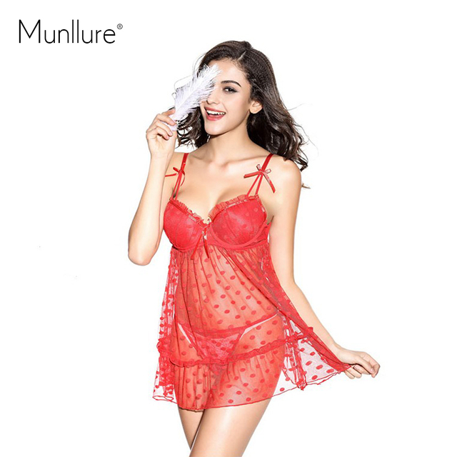 2016 Lace Polka Christmas Red Polka Dot  Set Sexy Panties Hot Sale Gauze Sleepwear Series