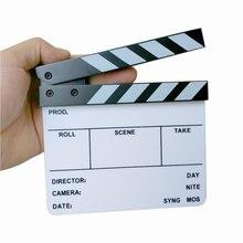 """Câmera de estúdio fotografia vídeo acrílico pequeno clapboard seco apagar diretor filme clapper placa ardósia (6.3x5.5 """"/16x14 cm)"""