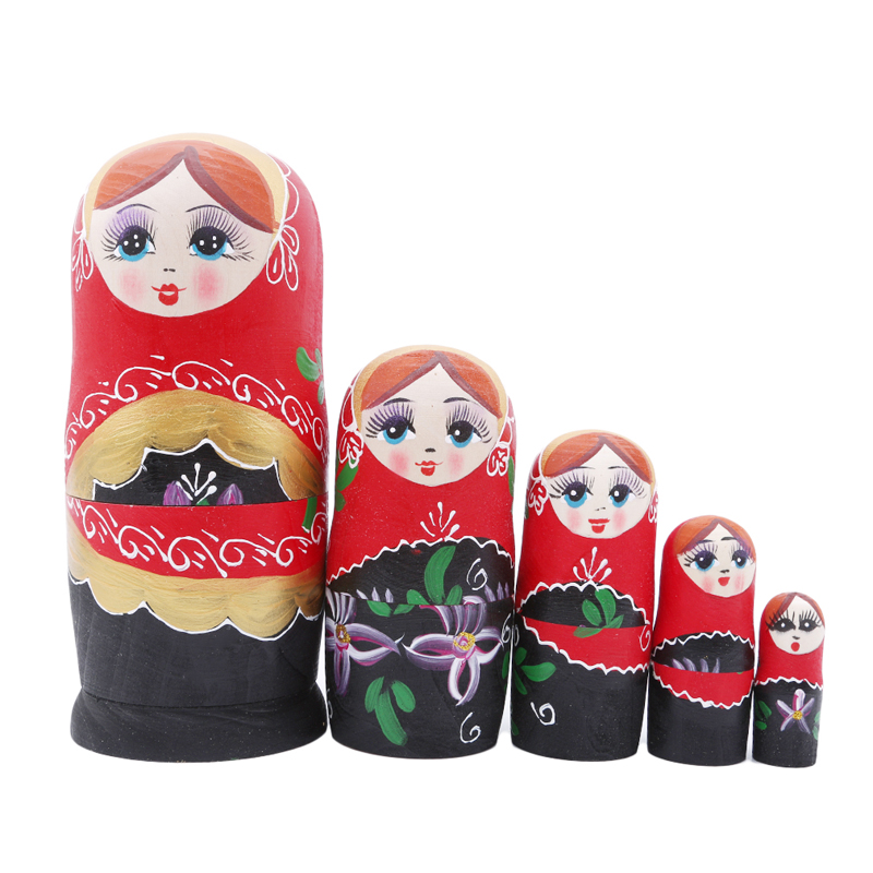Ingenious 5pcs/set Classical Cute Wooden Matryoshka Dolls Wood Russian Nesting Doll Set For Kids Handmade Crafts Home Decor Birthday Gift High Quality And Inexpensive Toys & Hobbies