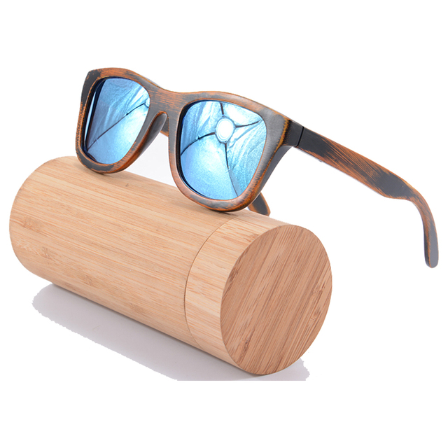 Bamboo Wood Sunglasses In Men ICE BULE Coating Mirror Polarized Sunglasses Wooden Women Men Handmade Nature Oculos Z6016