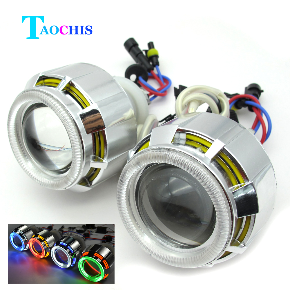 Taochis 2.5 inch Bi-xenon Hid Headlight Projector Lens Lossless installation Headlamp Assembly Kits with angel eyes Universal hireno headlamp for mercedes benz w163 ml320 ml280 ml350 ml430 headlight assembly led drl angel lens double beam hid xenon 2pcs