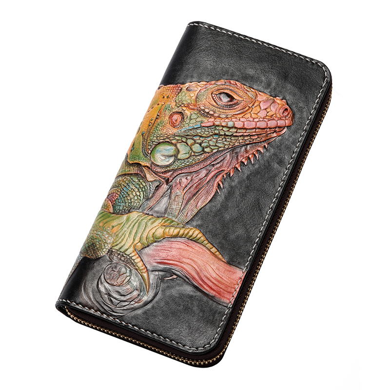 Handmade Genuine Leather Wallets Carving Chameleon Bag Purses Women Men Long Clutch Vegetable Tanned Leather Wallet  Card Holder brand handmade genuine vegetable tanned leather cowhide men wowen long wallet wallets purse card holder clutch bag coin pocket page 4
