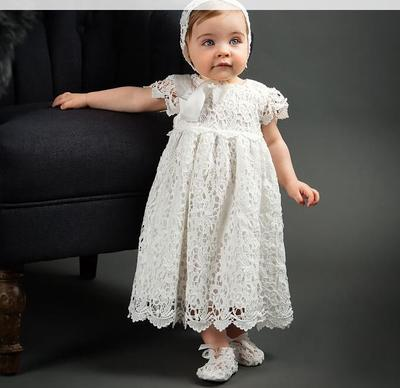 e28059d83 Long Style Baby Girl Christening Gowns White Lace Baptism Dress 1st Year  Birthday Dress Party Princess