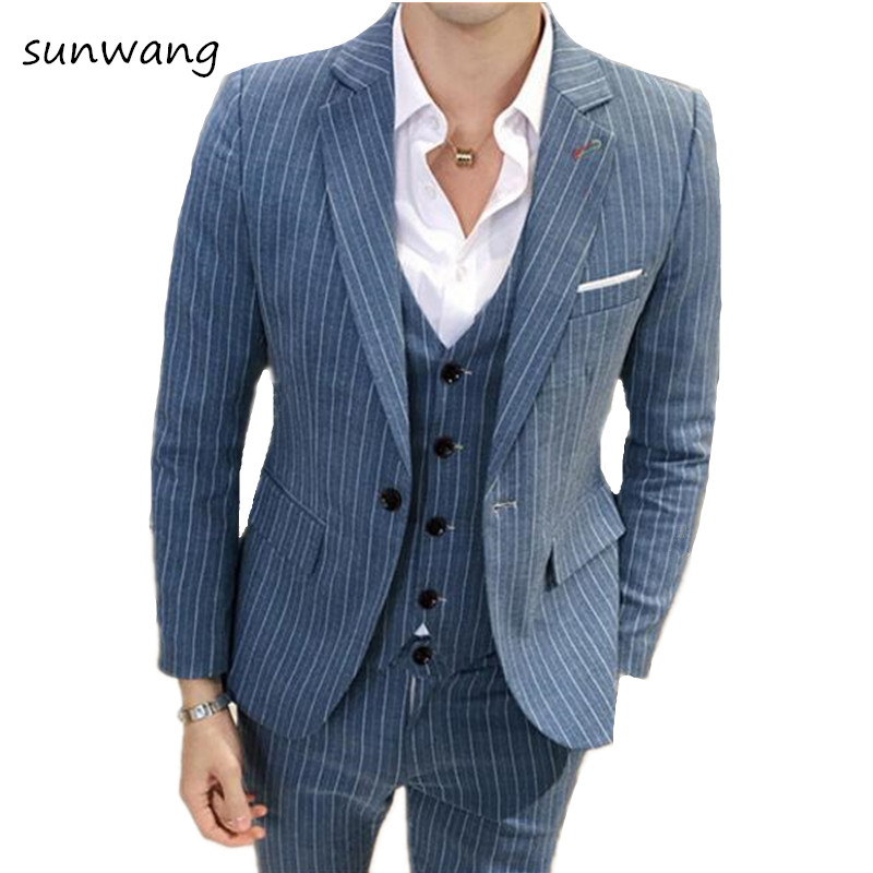 striped 3 piece italian suits men tunic suit slim fit costume homme mariage groom tuxedo wedding. Black Bedroom Furniture Sets. Home Design Ideas