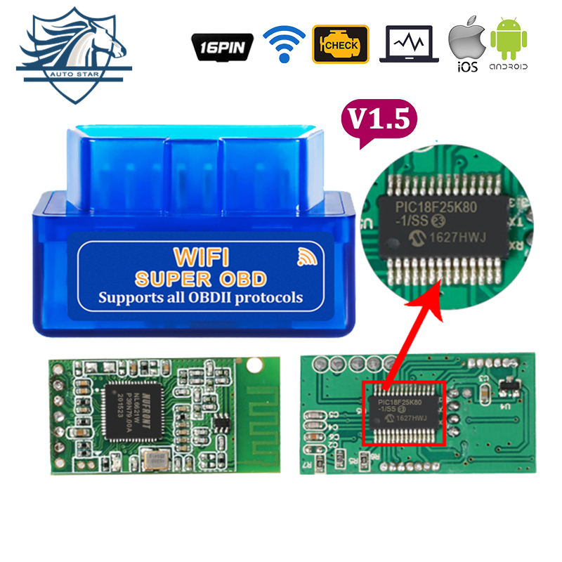 Super OBD2 II ELM327 WIFI V1.5 With Pic18F25K80 Car Diagnostic Scanner Tool Engine Check Code Reader For Android/iOS/Windows