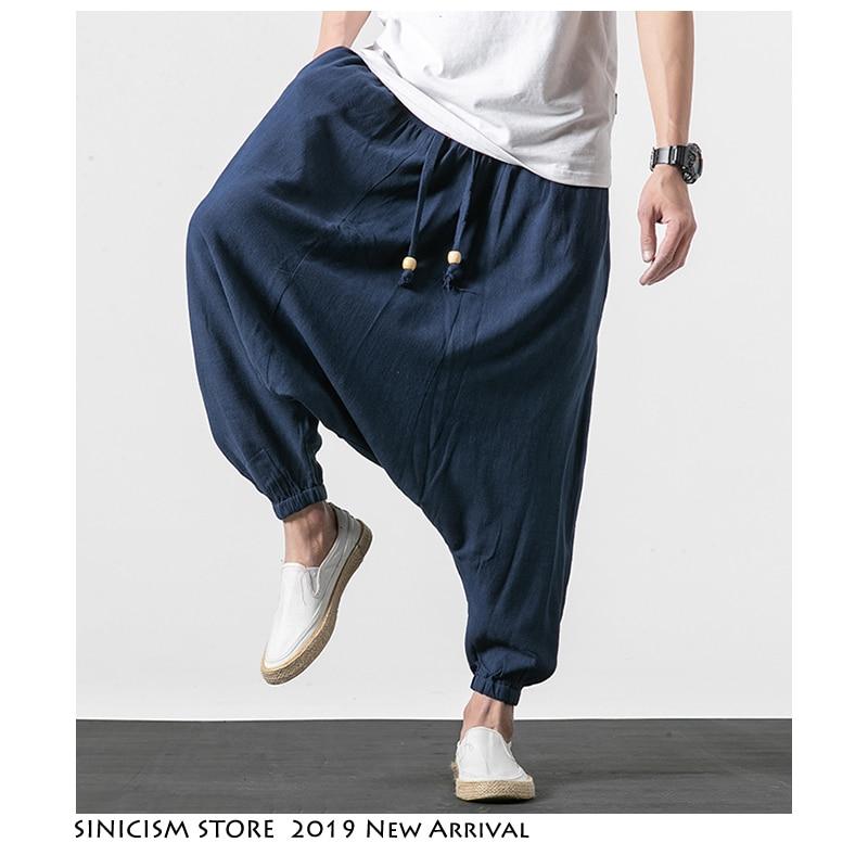 Sinicism Store Men Solid Harem Pants 2019 Mens Japanese Streetwear Sweatpants Male Cotton Linen Vintage Joggers Pants Plus Size