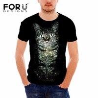 Forudesigns القطة السوداء الرجال أزياء تي شيرت بأكمام قصيرة تي شيرت 3d الإضاءة يطبع ذكر بلايز للبنين قمم crossfit الملابس