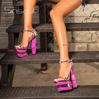 Sinsaut Summer Shoes Women Strange Style High Heels Platform Pink Heels Sandals colored rivet Ankle Strap Party Sandals Sexy