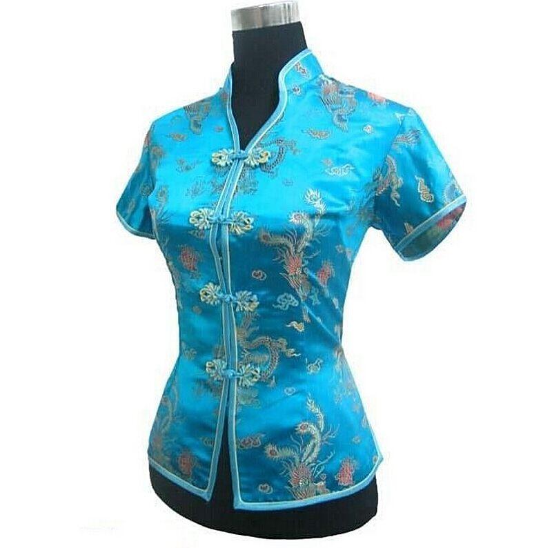 Nueva luz de la llegada azul para Mujer Camisa con cuello en v clásico chino par