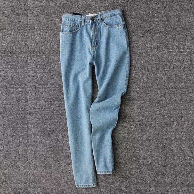 19 korean style women pencil denim pants high waist jeans woman casual vintage jeans boyfriend mom jeans light blue streetwear 18