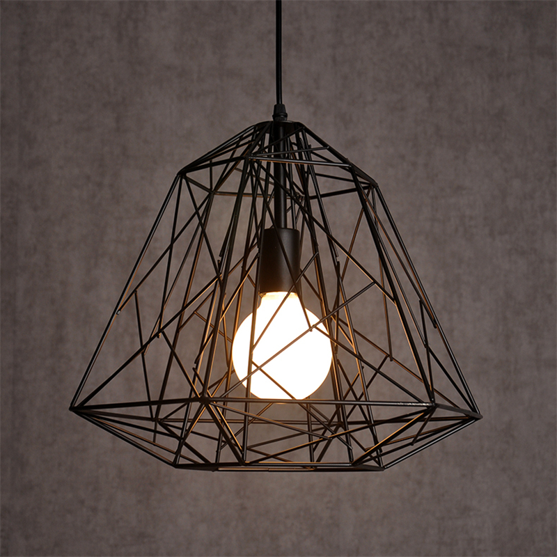 Nordic creative diamond braided iron Pendant light E27 retro industrial wind Pendant lamp for Restaurant Coffee shop loft nordic modern pendant lamps restaurant coffee shop creative iron english combination light
