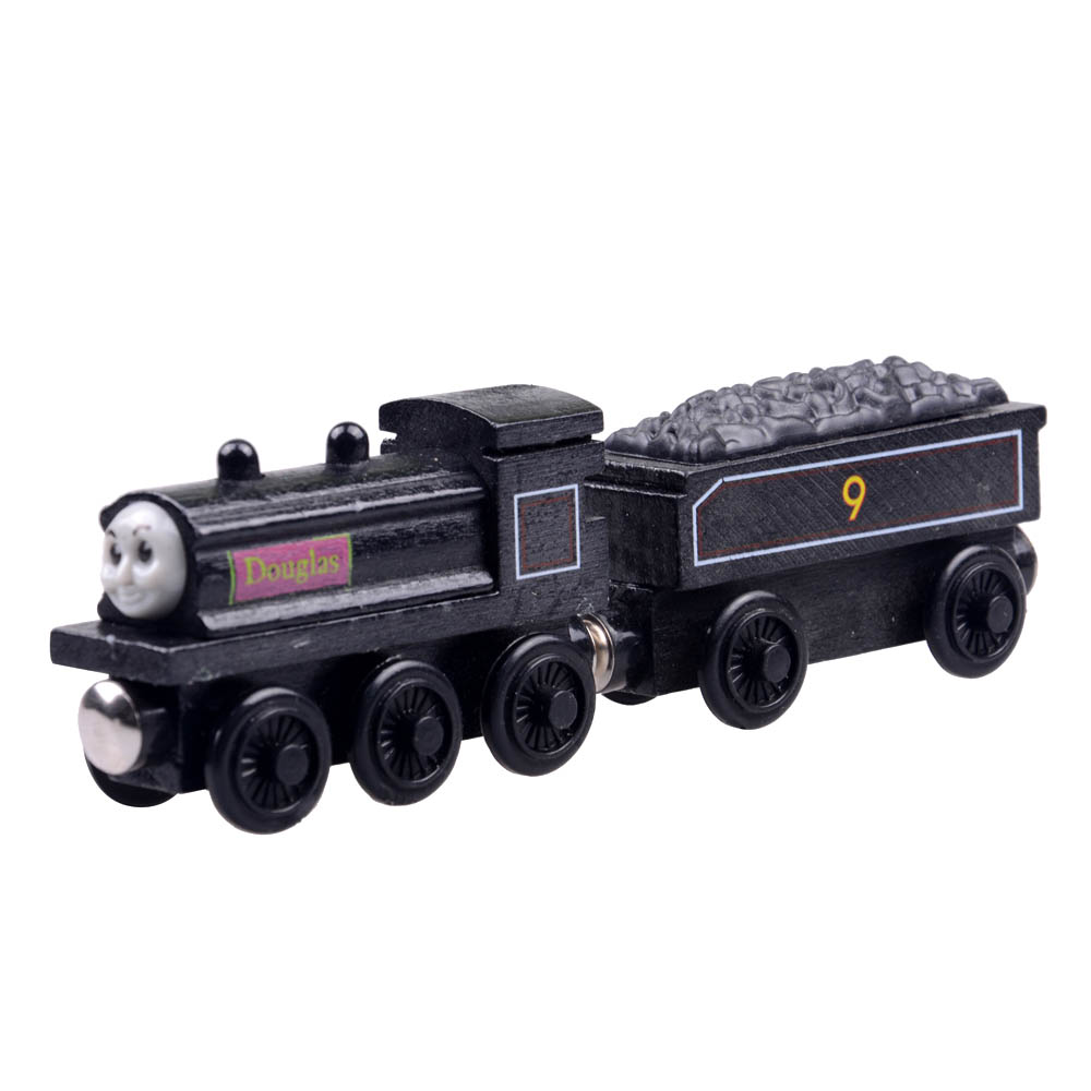 2pcs/lot Baby educational vehicle toys Wooden Magnetic Tomas Railway Train head Douglas and his car