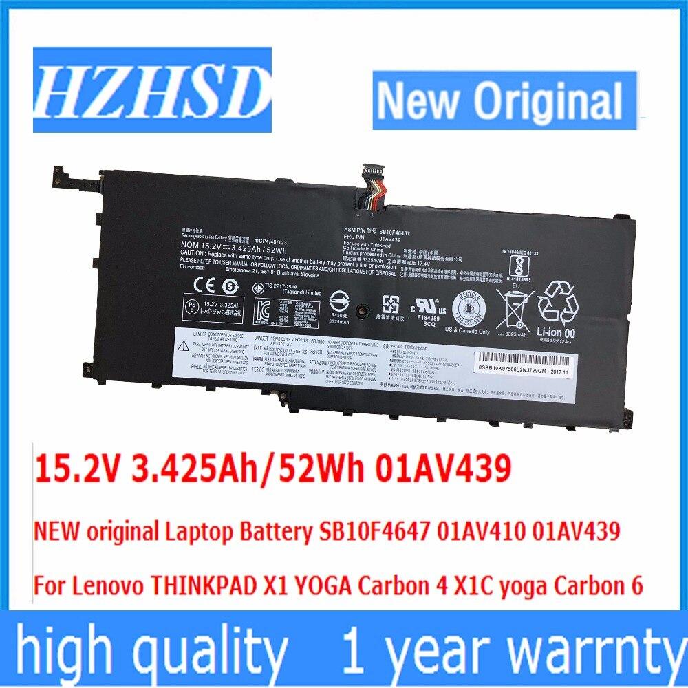15.2V 3.425Ah/52Wh 01AV439 NEW Original Laptop Battery SB10F4647 01AV410 For Lenovo THINKPAD X1 YOGA Carbon 4  X1C 00HW028