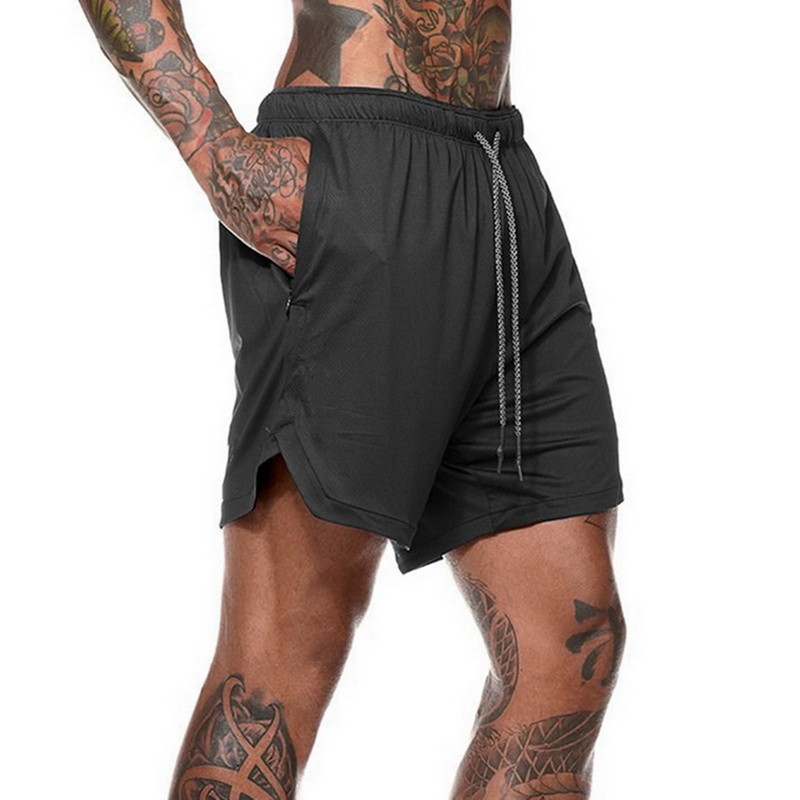 MJARTORIA Men's 2 in 1 Joggers   Shorts   Security Pockets Double Layer   Shorts   With Pocket Fitness   Shorts   Solid Camo Workout   Shorts