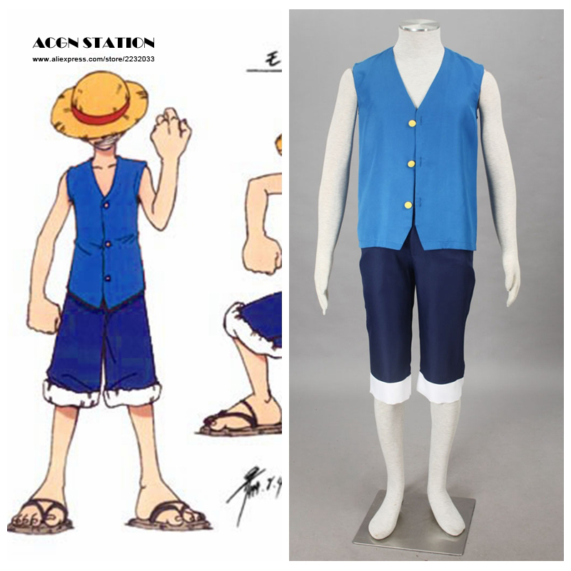 2018 Blue version Anime Monkey D. Luffy One Piece Adult Kid Halloween Cosplay Costume Customize for plus size adults and kids