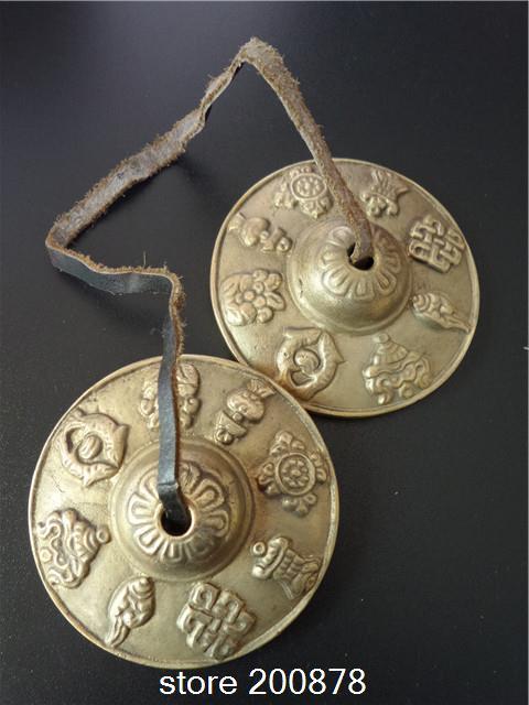 TBC987 Tibetan Brass Golden buddhist bells pair 65mmTibet Lucky Babao/Eight Auspicious Cymbals Tingsha