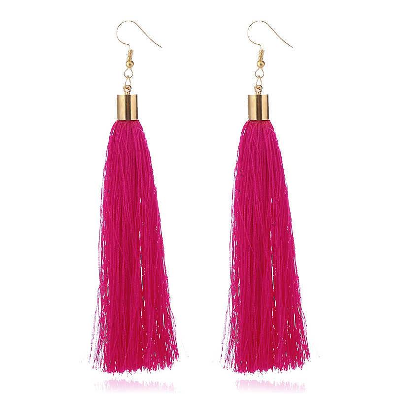Винтажные этнические длинные висячие серьги с кисточками для женщин, женские модные богемные серьги из белого и красного шелка, индийские ювелирные изделия