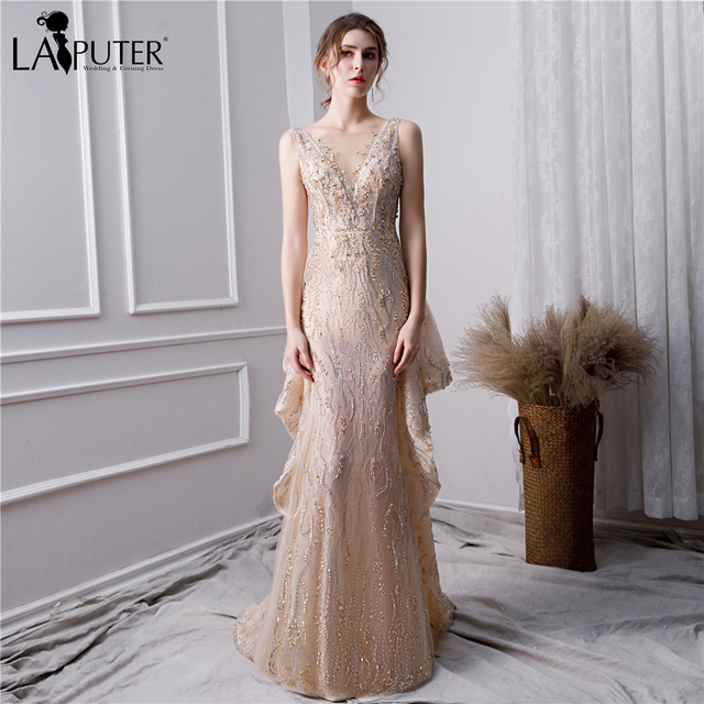 8ee9a1db09 US $265.0 |LAIPUTER 2019 Luxury Bling Gold Elegant Evening Dress with  Pearls Trumpet Deep V neck Heavy Lace Prom Dresses Long Elegant-in Evening  ...