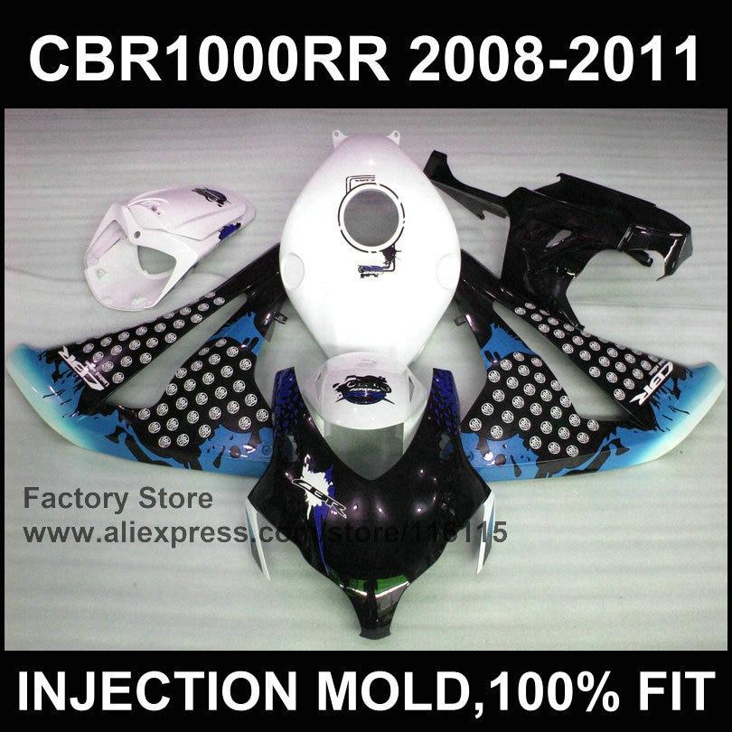 100% Injection molding right blue black fairing parts for HONDA CBR1000RR fairing kit 2008 2009 2010 2011 CBR 1000 RR body part new hot moto parts fairing kit for honda cbr1000rr 06 07 white blue injection mold fairings set cbr1000rr 2006 2007 ra14
