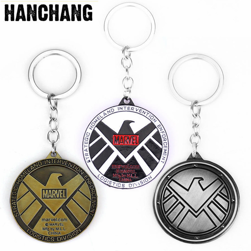 Marvel Avengers Aegis Bureau Keychain Agents Of Shield Key Chain Ring Holder Car Accessories Souvenirs Movie Gift Keyring the avengers captain america keychain superhero star shield pendant keyring car key chain accessories batman marvel key chains