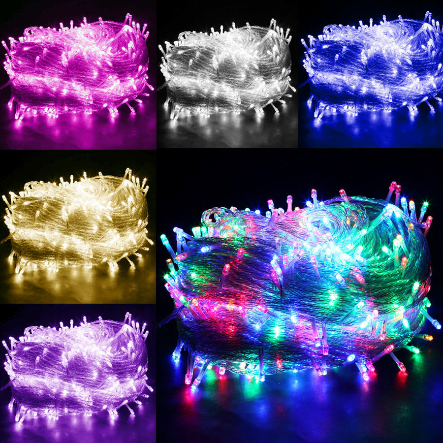 Multi Color 50m 400 Led Bulbs Fairy String Light Outside Hanging Party Windows Garden Christmas