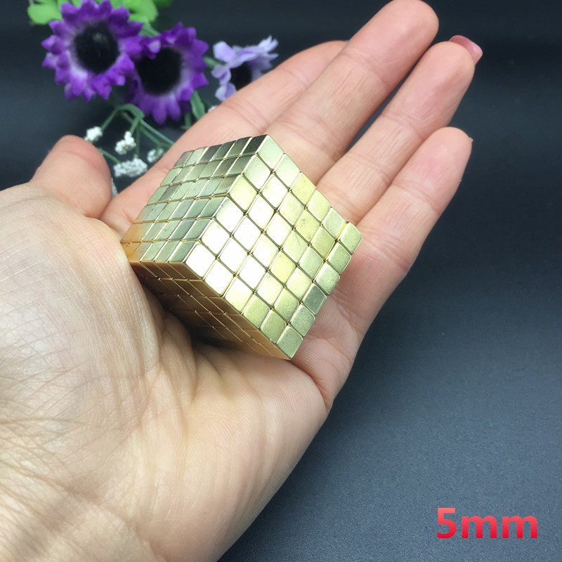 Free shipping 216pcs 5mm gold magnet 5x5x5 mm Strong Rare Earth Block square Neodymium Magnets 5x5x5mm strong magnet 5*5*5 mm