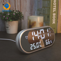 Temperature and humidity display Reveil Watch USB Electronic Table Clocks LED Digital Alarm Clock With Oval Mirror Desk Clock