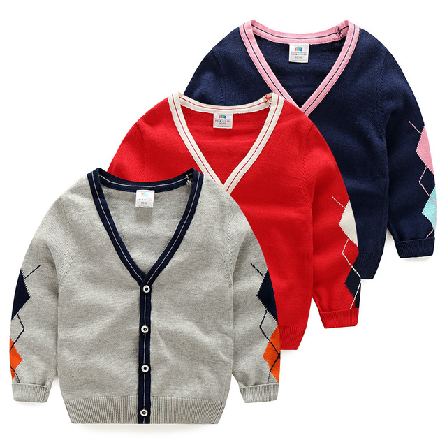 children solid color sweater autumn 2016 male children's clothing boys casual cardigan