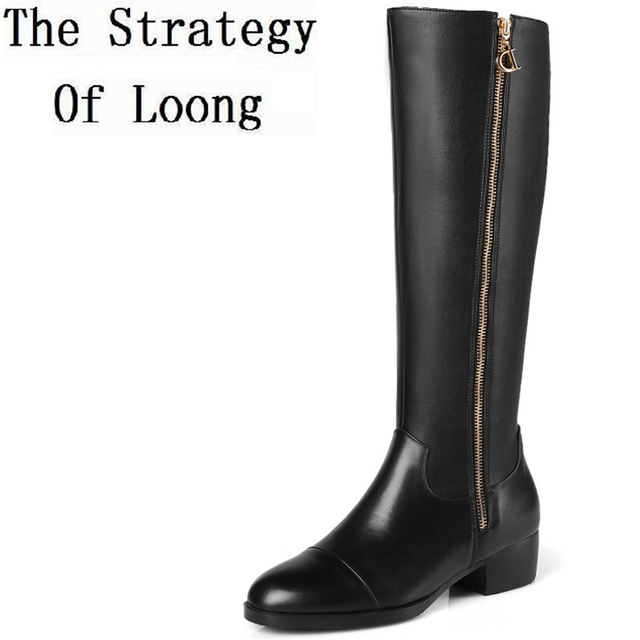 ba09d5b35f3 US $79.0  Women Genuine Leather Knee High Long Boots Low Thick Heels Lady  Real Leather Knight High Boots Plus Size 41 42 43 44 45 Big Size-in ...