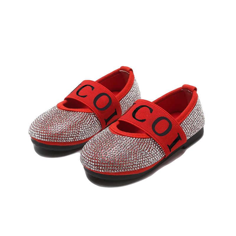 ฤดูใบไม้ผลิเด็กทารกใหม่สีดำรองเท้าเด็ก Rhinestone แฟลตเด็กวัยหัดเดินเจ้าหญิงรองเท้านุ่มรองเท้าเด็กหวาน Mary Jane 2019