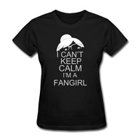 Women's I Can't Keep Calm I'm A Fangirl graphic short sleeve T Shirts novelty Black