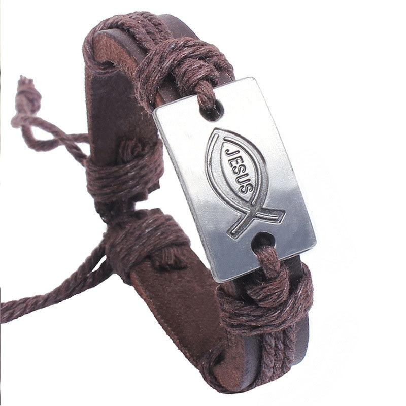 Kirykle-bracelet en cuir fait de ficelle colorée pour hommes et femmes, à breloque, Vintage, bijoux chrétiens, idée cadeau, jésus poisson, religion 2