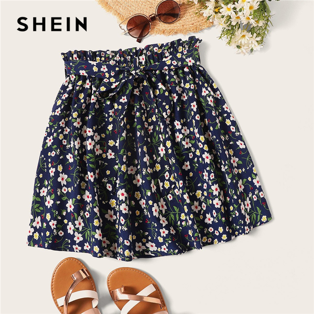 SHEIN Boho Navy Ditsy Floral Print Paperbag Waist Belted Flared Skirts Womens Summer 2019 Casual Frilled Pleated Mini Skirt 1