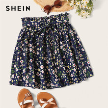 SHEIN Boho Navy Ditsy Floral Print Paperbag Taille Belted Ausgestelltes Röcke Frauen Sommer 2019 Casual Frilled Falten Mini Rock(China)
