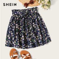 SHEIN Boho Navy Ditsy Floral Print Paperbag Taille Belted Ausgestelltes Röcke Frauen Sommer 2019 Casual Frilled Falten Mini Rock