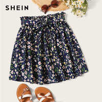 Shein boho marinha ditsy floral impressão paperbag cintura com cinto queimado saias das mulheres verão 2019 casual frisado plissado mini saia