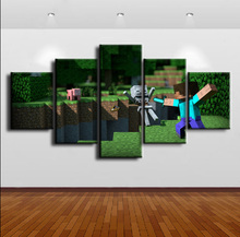 5 Piece Home Decor Canvas Minecraft Game Modern HD Print Wall Art For Living Room Painting Wall Art Painting Canvas Artwork ravnica allegiance game modern home decor hd print wall art canvas art for living painting wall art 5 piece home painting