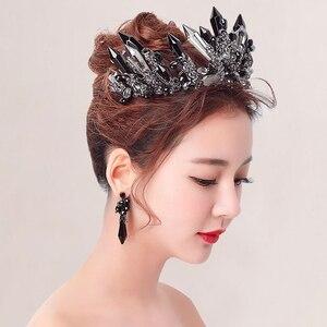 Image 3 - HIMSTORY couronne rétro noir cristal surdimensionné reine diadème, coiffure pour mariage, Studio Photo, accessoires pour cheveux