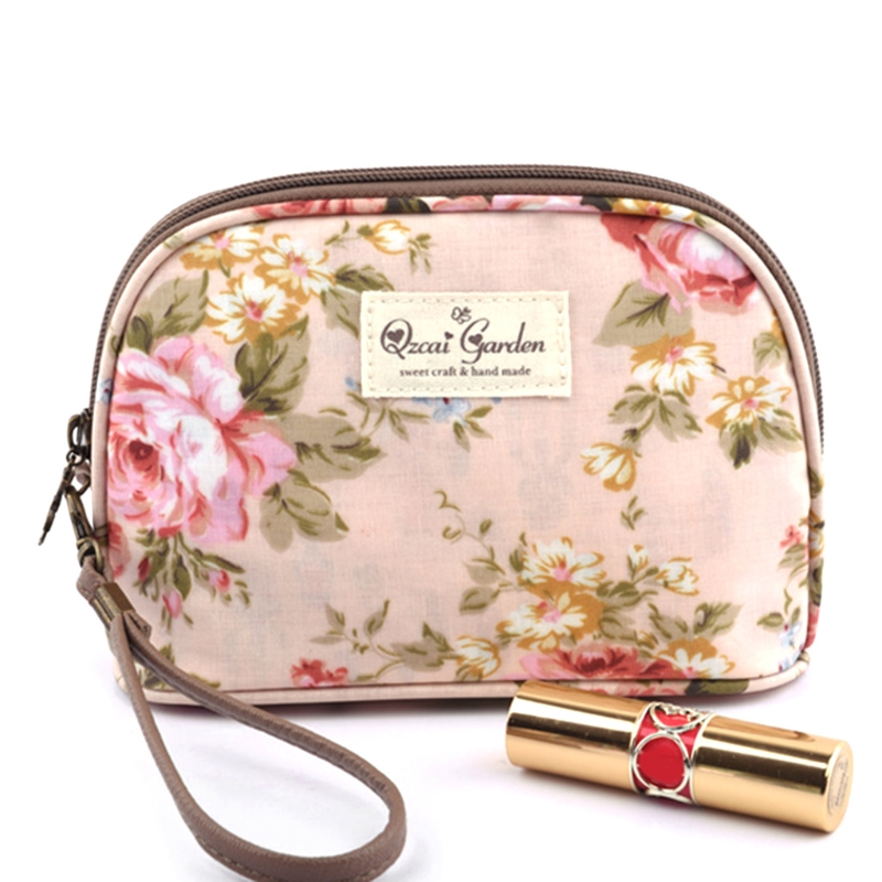 Women Flap Zipper Bag Flower Floral Hand Holding Makeup Case Shell Style