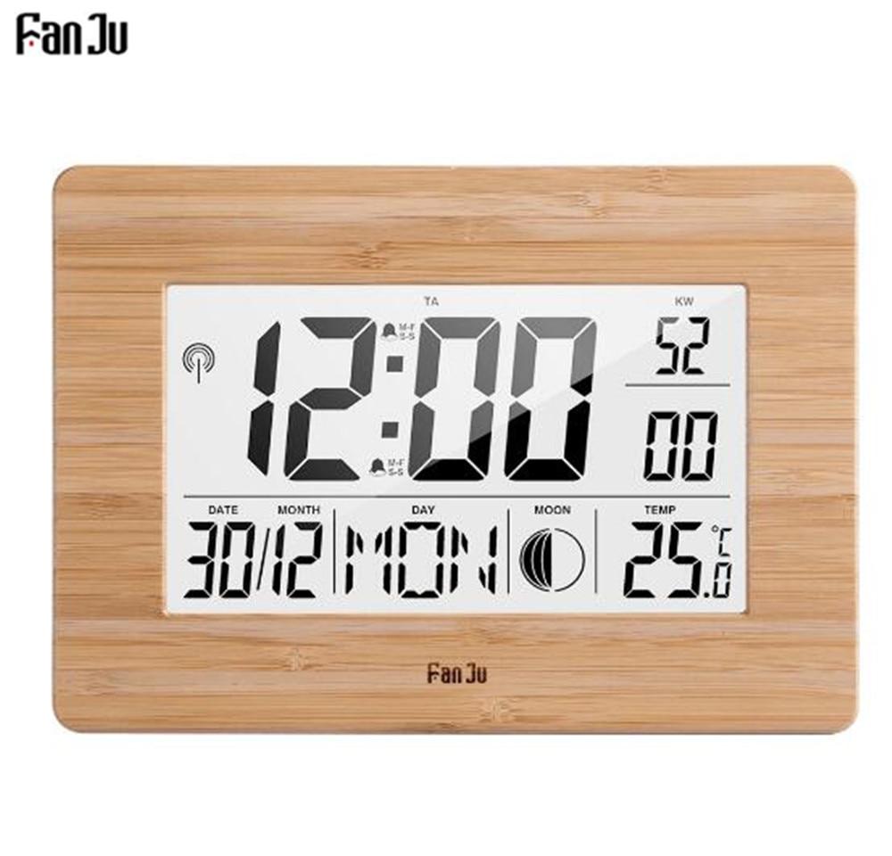 2pcs Digital Alarm ClockLCD Wall Mount Calender Clock for Bedroom Office