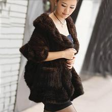 ZDFURS *  classic fur  real mink fur shawl  kintted mink fur cape pocket fur warp for women180* 50cm