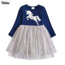 VIKITA Brand Girls Unicorn Dress Sequined Vestidos Kids Party Casual Tutu Children Licorne Autumn and Winter Dresses