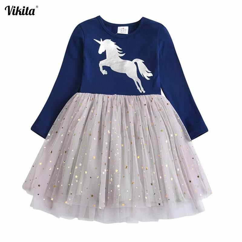 VIKITA מותג בנות Unicorn שמלת בנות נצנצים Vestidos ילדים המפלגה מקרית טוטו שמלת ילדי Licorne סתיו וחורף שמלות