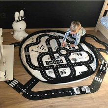 Baby-Spiel-Matte-weiche kriechende Wolldecken-Auto-Bahn-Rollbild-Puzzlespiele Tapete, die Spielzeug-nordischer Art-Kinderdekorations-Puzzlespielgeschenk für Baby erlernen