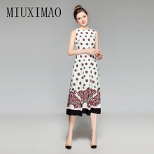 High Quality 2018 Spring & Summer Latest Fashion Elegant A-Line O-Neck Sleeveless Print Casual Style Mid-Calf Dress Women цена
