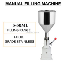 Free ship Food filling machine Manual hand pressure stainless paste dispensing liquid packaging equipment sold cream machine  a50 new manual filling machine 5 50ml for cream