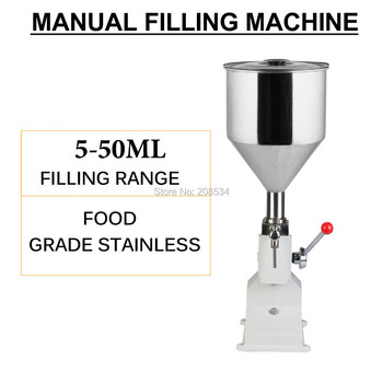 Free ship Food filling machine Manual hand pressure stainless paste dispensing liquid packaging equipment sold cream machine high quality manual hand pressure food filling machine paste liquid filler cream filling machine 1 50ml
