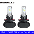 Ironwalls H7 H13 9005 Car Led Headlight Bulbs 50W Cree Csp Chips 6500K 8000Lm Hi-Lo Beam Single Beam Headlamp Kit DC 12/24V