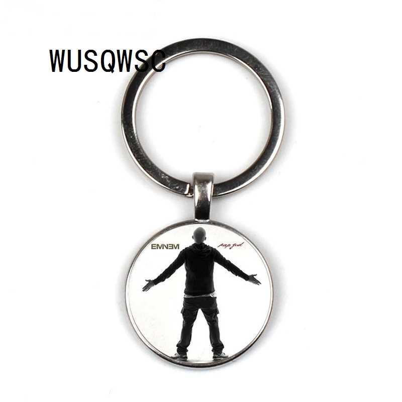 WUSQWSC hip-hop Rap piosenkarka Eminem brelok Vintage Yin Yang Eminem zdjęcie szkło metalowe mężczyźni torebka torba samochód brelok do kluczy uchwyt na pierścień