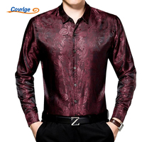 Covrlge 2017 Spring New Men Long Sleeve Bamboo Fiber Shirts High Quality Men's Print Slim Shirt Fashion Father's Shirts MCL041